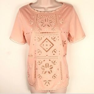 J Crew peach pink eyelet embroidered top M NWOT